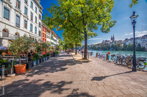 Old city center of Basel with Munster cathedral and the Rhine river, Switzerland, Europe Canvas Print