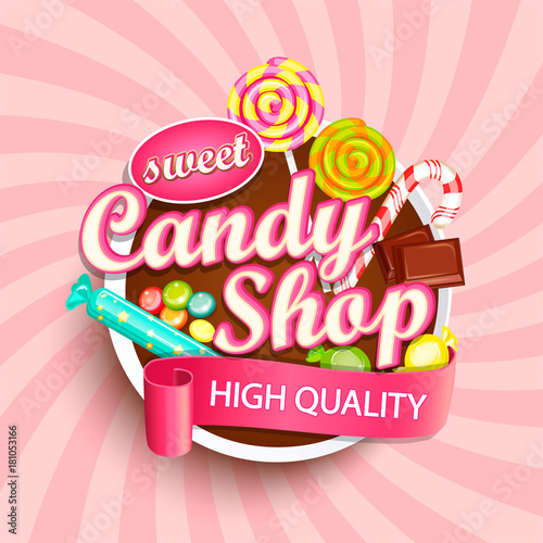 Valokuvatapetti Candy shop logo label or emblem for your design