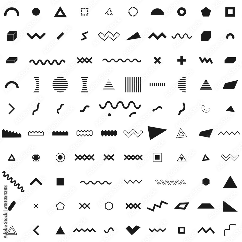 Fototapeta Set of geometric retro memphis style elements