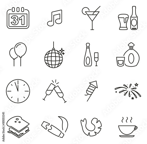 Poster New Years Eve Celebration or Party Icons Thin Line Vector Illustration Set