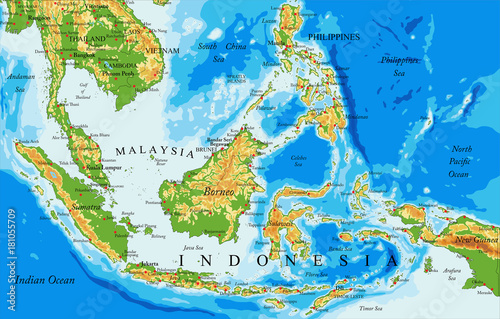 Photo Indonesia physical map
