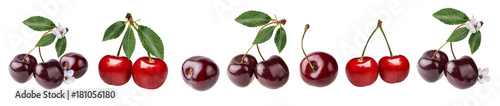 Fresh cherry with leaf isolated on white background with clipping path set Fototapete