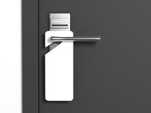 Blank Sign On The Modern Handle Of Door. 3d Rendering