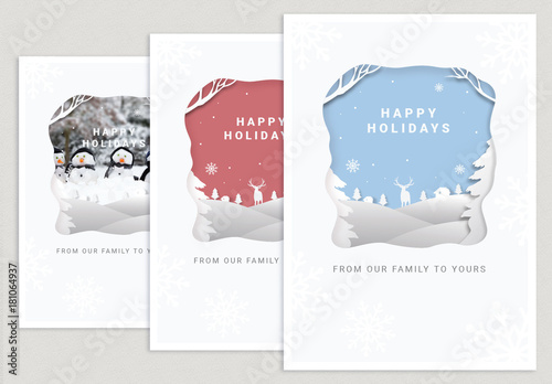 holiday paper cutout postcard layout buy this stock template and