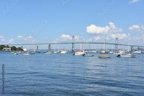 Poster Oceanië Newport Pell Bridge in Rhode Island