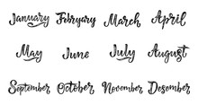 Handwritten Names Of Months December, January, February, March, April, May, June, July, August, September, October, November. Calligraphy Words For Calendars And Organizers.