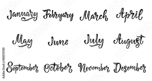 Handwritten names of months December, January, February, March, April, May, June, July, August, September, October, November Canvas Print
