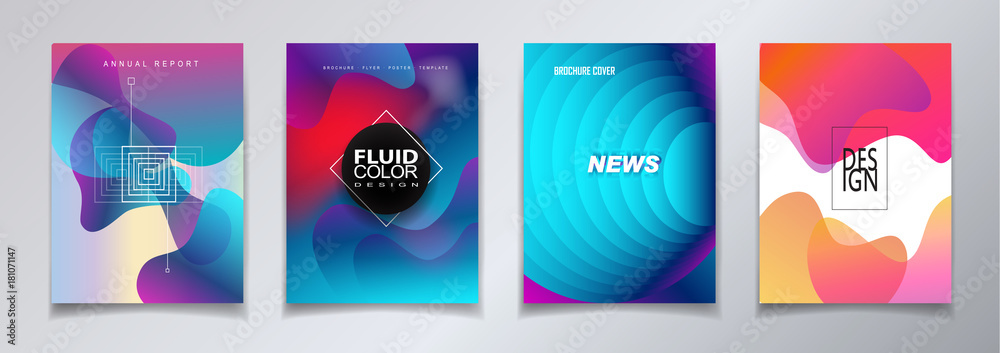 Fototapety, obrazy: Abstract covers template set with bauhaus, memphis and hipster style graphic fluid color bubles geometric elements. Applicable for placards, Annual report brochures, posters, banners vector