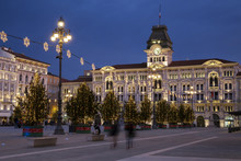 Unity Of Italy Square Or Piazza Unità D'Italia With The Town Hall On Background At Christmas Time, Friuli Venezia Giulia, Trieste
