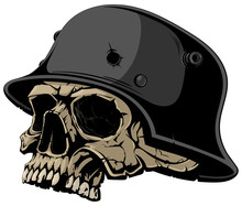 Skull In A Nazi Helmet.