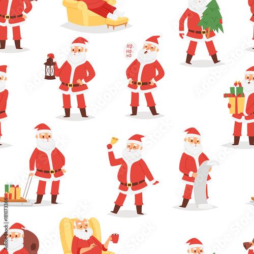 2f04f98647f4b Christmas Santa Claus vector character poses illustration Xmas man in red  traditional costume and Santa hat