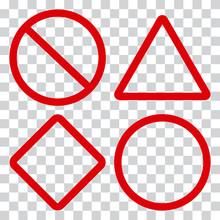 Red Traffic Signs On Transparent Background. Vector Illustration
