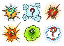 Comic Question Marks. Pop Art Speech Bubble Question Mark Box Set Isolated On White Background, Vector Illustration