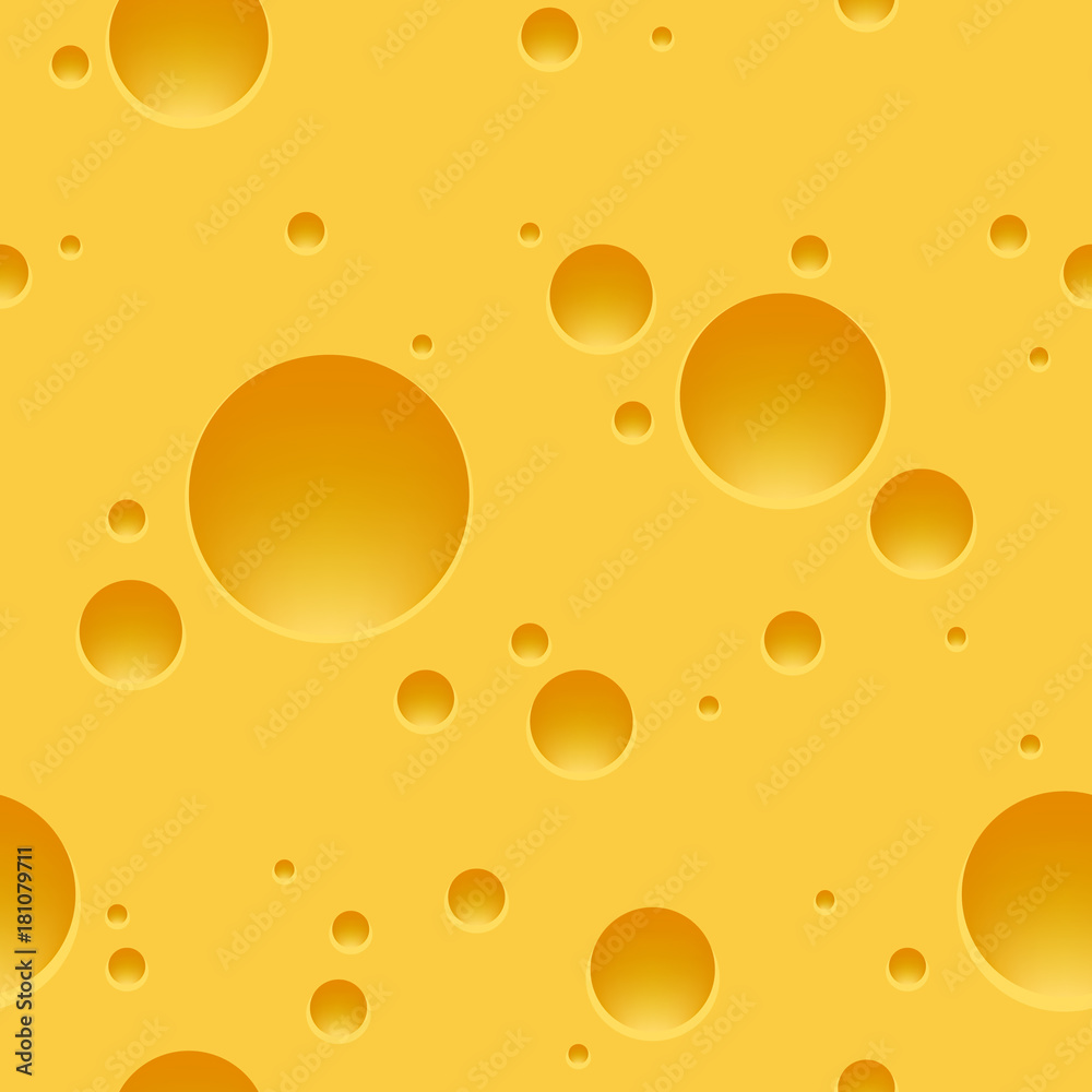 Swiss cheese pattern. Edam or maasdam slice porous yellow square background, vector illustration
