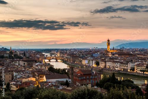 Papiers peints Cappuccino Panoramic sunset Florence