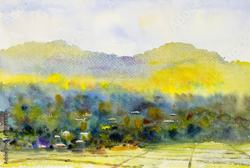 Foto op Aluminium Oranje Watercolor landscape painting colorful of village and rice field.