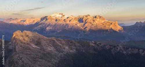 The Sella mountain group at sunrise, Dolomites, Italy
