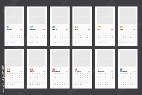 Modern Minimal Calendar Planner Template For 2018 Vector Design