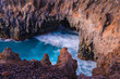 Stunningly beautiful lava caves and cliffs in Los Hervideros after sunset. Lanzarote. Canary Islands. Spain