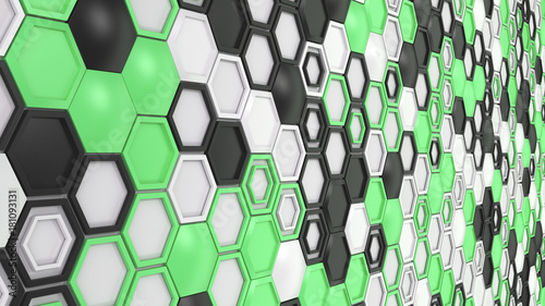 abstract-3d-background-made-of-black-white-and-green-hexagons-on-white-background