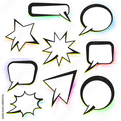 Set of vector comic speech bubbles with yellow and halftone