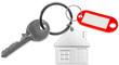 porte-clés maison avec porte-étiquette sans marquage sur fond blanc