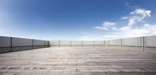Empty Brick Floor In Blue Sky
