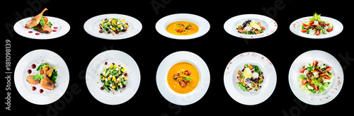 Wall Murals Ready meals Set of delicious classic dishes. Autumn menu in an Italian restaurant isolated on black background