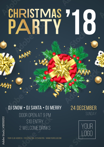 christmas party invitation poster or welcome banner design template of golden christmas gift presents and decoration
