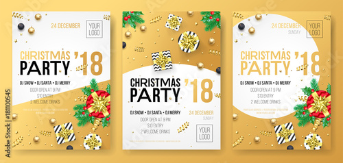 christmas winter holiday party celebration poster or invitation card of golden decoration and gold gift present