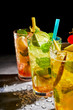 Three chilled refreshing fruit cocktails