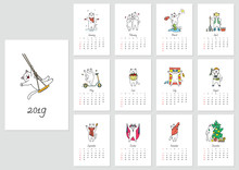 Vector Monthly Calendar With A...