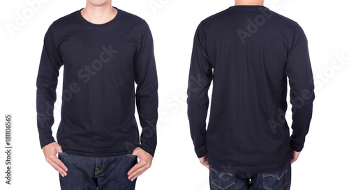 Fényképezés  man in black long sleeve t-shirt isolated on white background