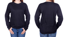 Woman In Black Long Sleeve T-shirt Isolated On White Background