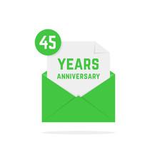 45 Years Anniversary Missive In Dark Green Letter