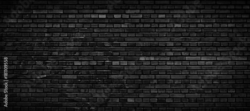 Obraz Black brick wall background. - fototapety do salonu