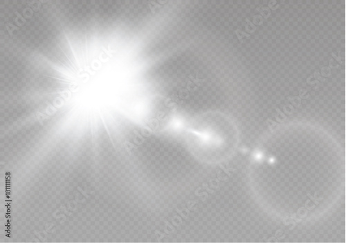 Obraz Vector transparent sunlight special lens flare light effect. Sun flash with rays and spotlight. - fototapety do salonu