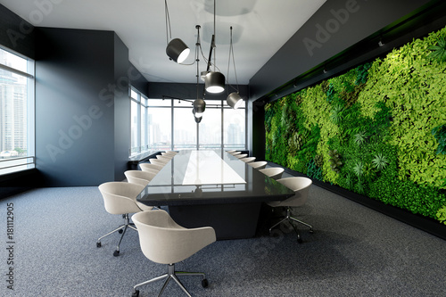 Vertical green wall in modern meeting room