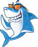 Fototapeta Fototapety na ścianę do pokoju dziecięcego - Smiling Shark Cartoon Mascot Character With Sunglasses
