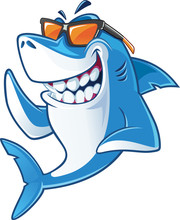 Smiling Shark Cartoon Mascot C...