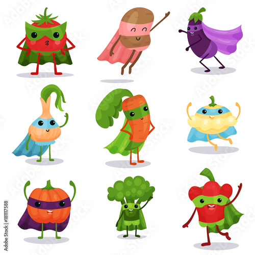 Cartoon flat characters set of superhero vegetables in capes and masks in differ Wallpaper Mural