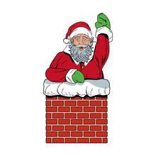 Santa Claus In Chimney Pop Art...