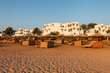 Hurgada, Egypt - 14 August, 2014: Hotel beach and sea lonely in the morning