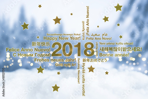 Happy new year in different languages greeting card concept with happy new year in different languages greeting card concept with snowy winter landscape in blured background m4hsunfo