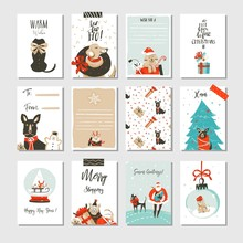 Hand Drawn Vector Abstract Fun Merry Christmas Time Cartoon Cards Collection Set With Cute Illustrations,surprise Gift Boxes ,Xmas Mammal Dogs And Modern Calligraphy Isolated On White Background