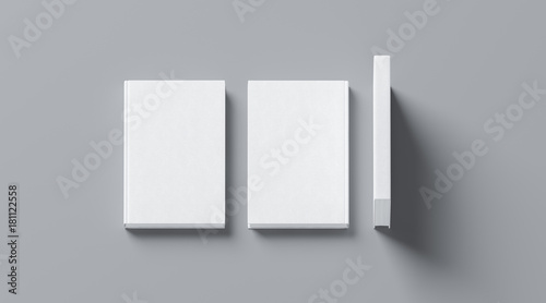 Fotografie, Obraz  Blank white tissular hard cover book mock up, front, spine and back side view, 3d rendering