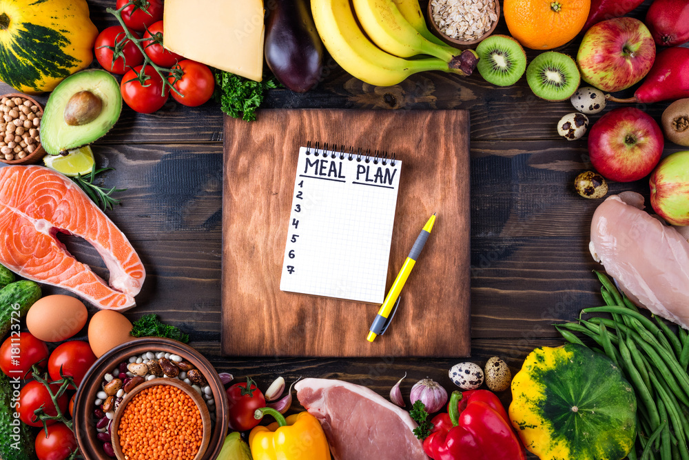 Fototapety, obrazy: Healthy food concept. Fresh  vegetables, fruits, meat and fish on wooden table. Healthy eating and meal plan. Top view