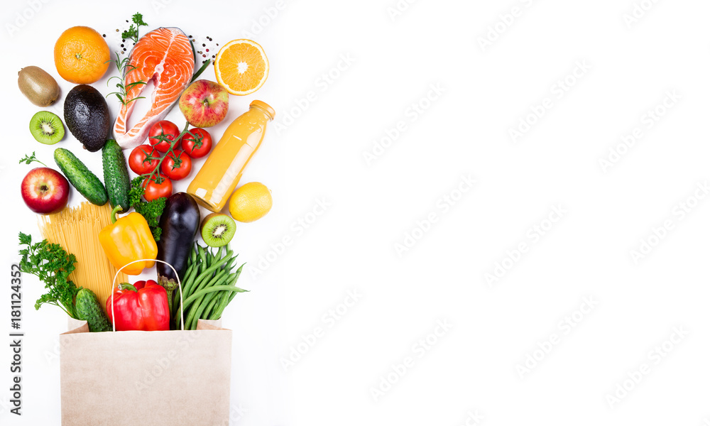 Fototapety, obrazy: Healthy food background. Healthy food in paper bag fish, vegetables and fruits on white. Shopping food supermarket concept. Long format with copy space