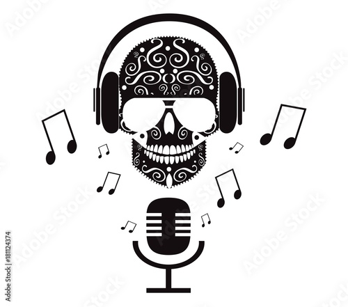 Fotografie, Tablou  Skull icon with headphones and sunglasses, microphone and notes, vector black an