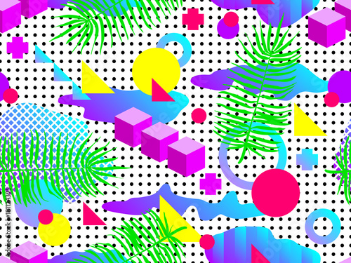 Seamless geometric pattern in retro 80s 90s style  Doodle